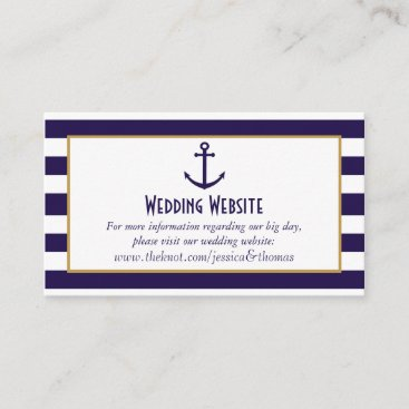 Nautical Navy & White Stripe Anchor Wedding Enclosure Card