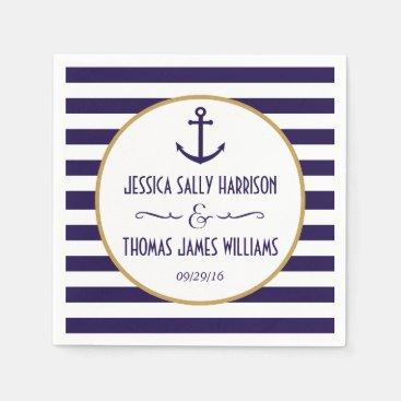 Nautical Navy & White Stripe Anchor Wedding Paper Napkin