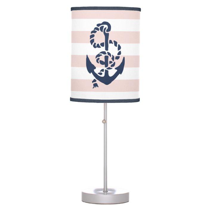 nautical nursery pink stripe anchor table lamp zazzle com