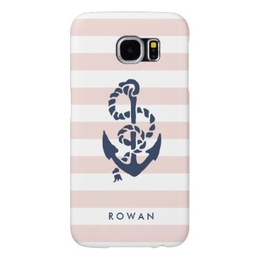 Nautical Pink Stripe & Navy Anchor Personalized Samsung Galaxy S6 Case