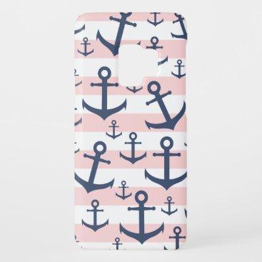 Nautical pink stripe navy blue anchor pattern Case-Mate samsung galaxy s9 case