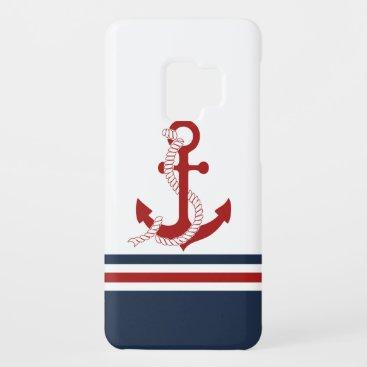 Nautical Red Anchor Red White Blau Stripes Case-Mate Samsung Galaxy S9 Case