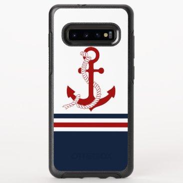 Nautical Red Anchor Red White Blau Stripes OtterBox Symmetry Samsung Galaxy S10  Case