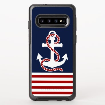 Nautical Red White Stripes and White Anchor OtterBox Symmetry Samsung Galaxy S10 Case