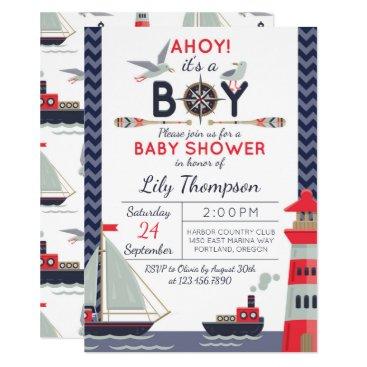 Nautical Sailboat Ahoy Baby Boy Shower Invitation