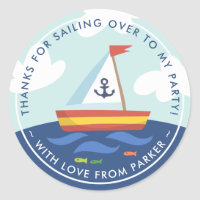 Nautical Sailboat Birthday Thank You Favor Classic Round Sticker