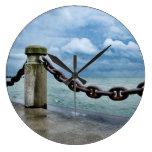Nautical Summer Beach Front Blue Sky Rustic Large Clock