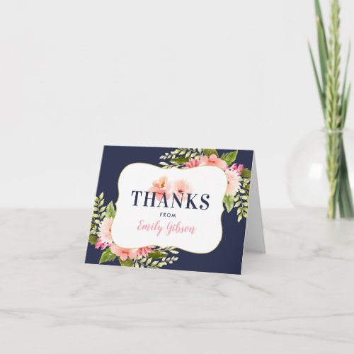 Navy and Blush Floral Watercolor | Bridal Shower Thank You Card
