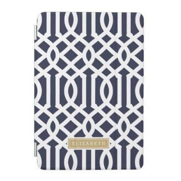 Navy and Gold Trellis Custom Monogram iPad Mini Cover