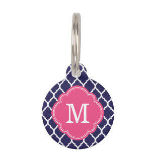Navy and Pink Quatrefoil Monogram Pet Name Tags
