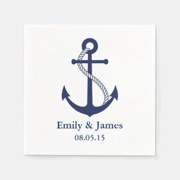Navy Blue Anchor Nautical Wedding Paper Napkin