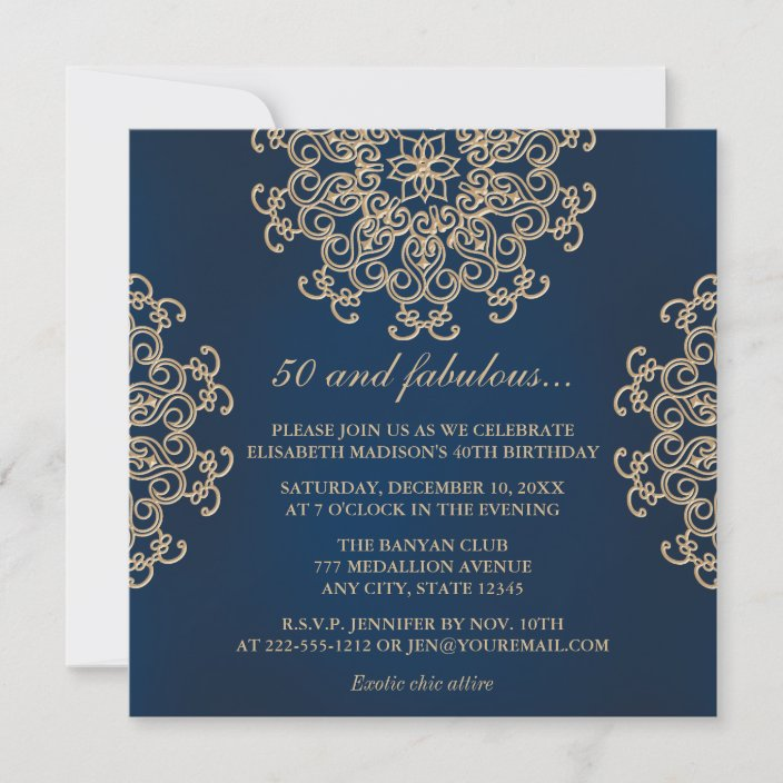navy blue and gold indian style 50th birthday invitation zazzle com