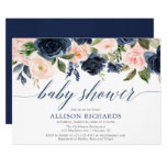 Navy blue & blush pink floral elegant baby shower invitation