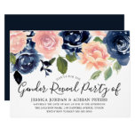 Navy Blue Blush Pink Flowers Gender Reveal Party Invitation