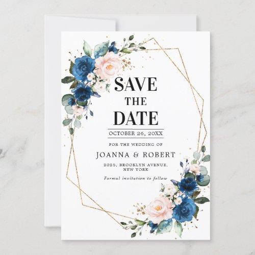 Navy Blue Blush Pink Rose Boho Wedding Save The Date