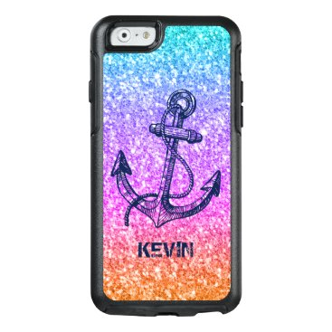 Navy Blue Boat Anchor On Colorful Glitter OtterBox iPhone 6/6s Case