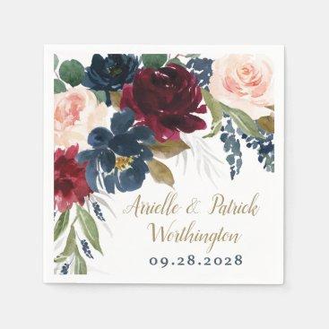 Navy Blue Burgundy Blush Pink Silver Gold Wedding Napkins