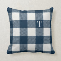 Navy Blue Gingham Plaid Monogrammed Throw Pillow