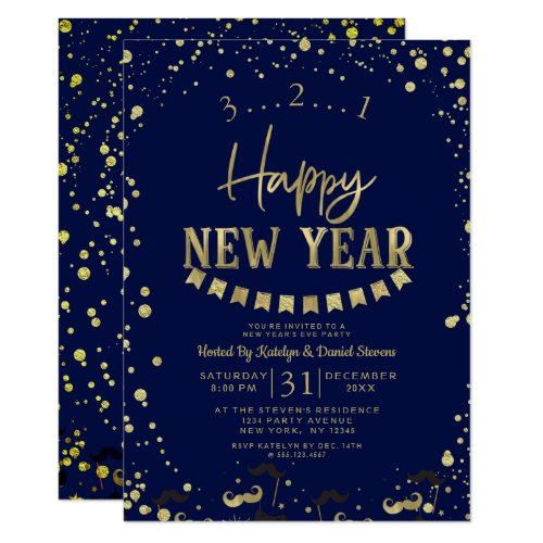 Navy Blue Gold Foil Confetti New Year's Eve Party Invitation