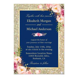 Navy Blue Gold Sparkles Pink Fl Wedding Invite