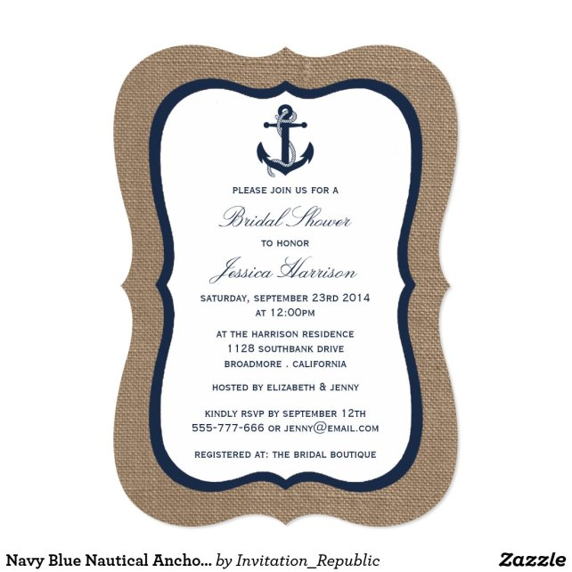 Navy Blue Nautical Anchor On Burlap Bridal Shower