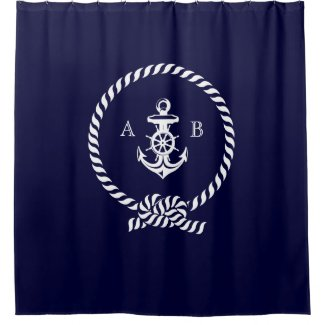 Navy Blue Nautical Rope and Anchor Monogram Shower Curtain
