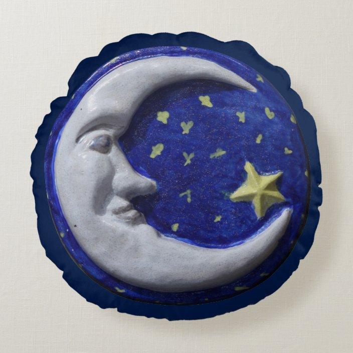 navy blue night sky crescent moon round pillow zazzle com