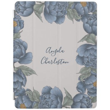 Navy Blue Peony Floral Illustrated iPad Smart Cover