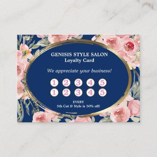 Navy Blue Pink Floral Beauty Salon Loyalty Card