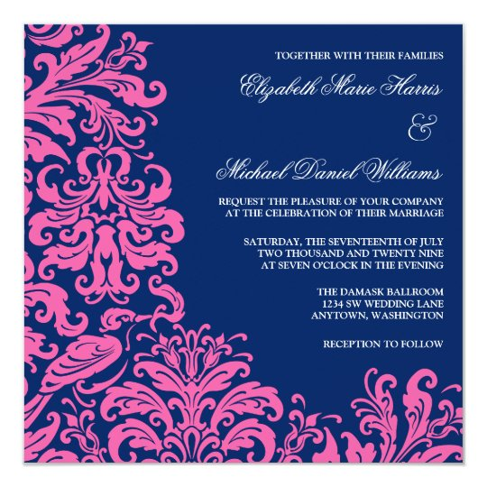Navy And Blush Bridal Shower Invitations