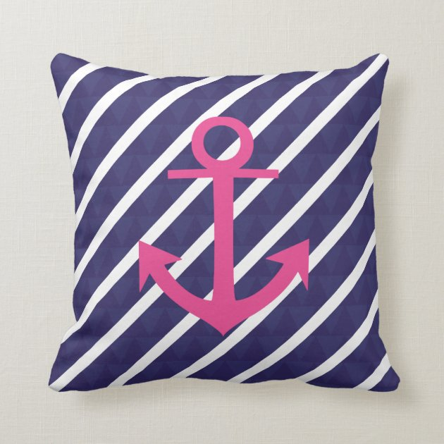 Navy Blue Stripes And Hot Pink Anchor Design Throw Pillow