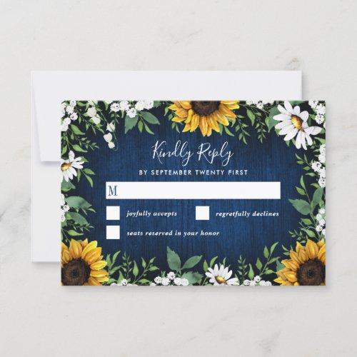 Navy Blue Sunflower Rustic Wedding RSVP Cards