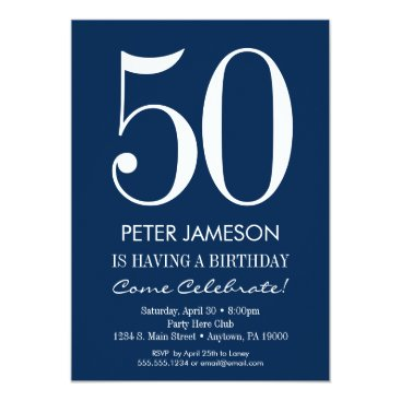 Navy Blue White Modern Adult Birthday Invitations