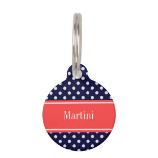Navy Blue White Polka Dots Coral Name Monogram Pet Nametag