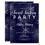 Navy blue white snowflakes winter sweet 16 invitation