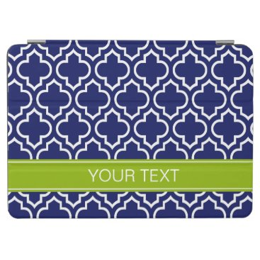 Navy Blue Wht Moroccan #6 Apple Grn Name Monogram iPad Air Cover