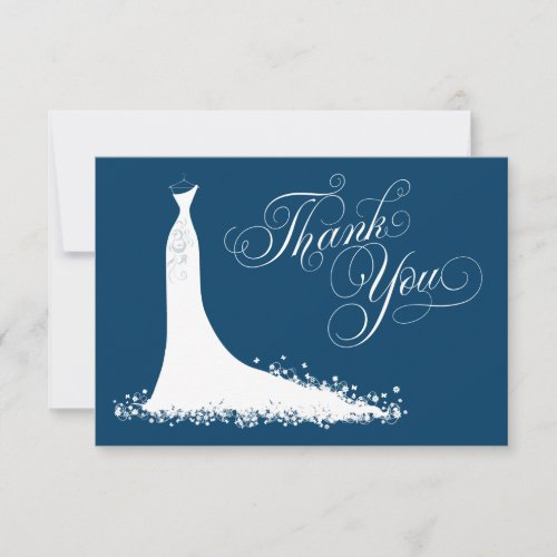 Navy Bridal Shower | Elegant Gown Thank You Card