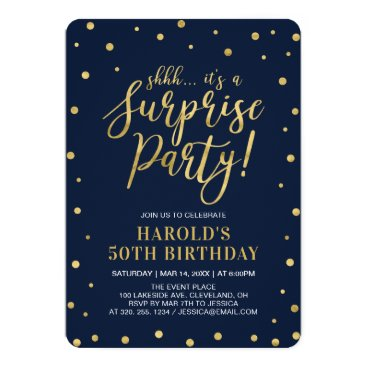 Navy & Gold | Adult 50th Surprise Birthday Party Card
