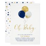 Navy & Gold Balloons | Oh Baby Boy Baby Shower Invitation