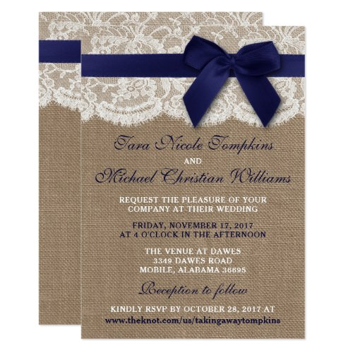 Navy Ribbon On Burlap &amp&#x3B; Lace Wedding Invitation