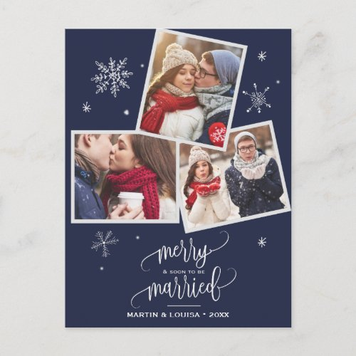 Navy Snowflake | 3 Photo Engagement Christmas Holiday Postcard