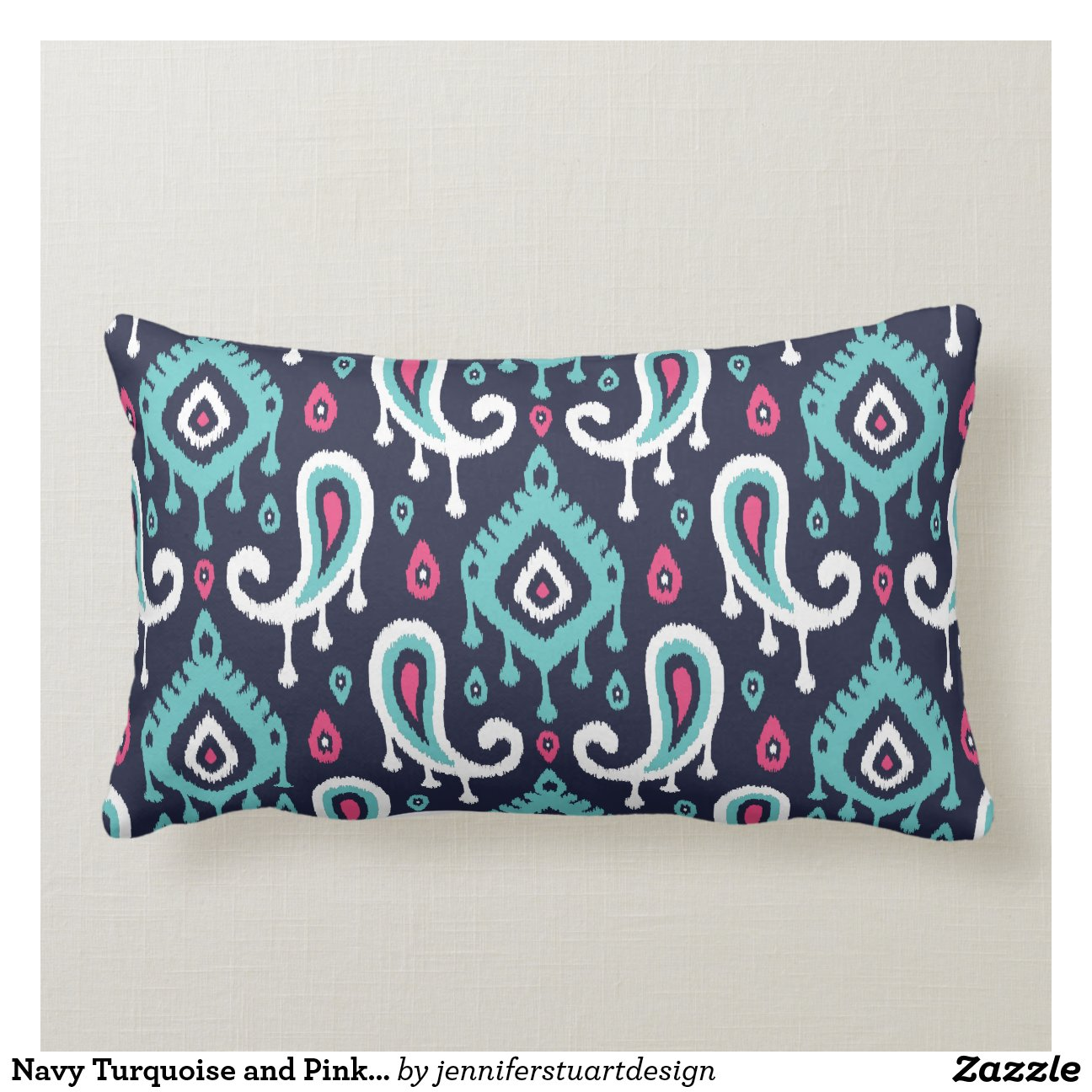 Navy Turquoise And Pink Ikat Paisley Throw Pillow