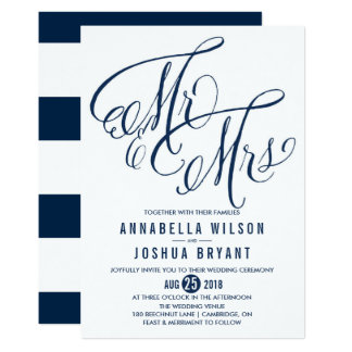 Navy White Mr Mrs Elegant Script Wedding Card