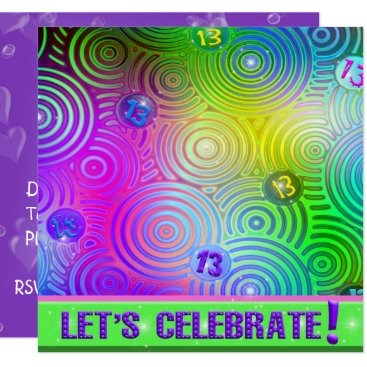Neon Bright 13th Birthday Invite