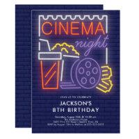 Neon Cinema Night Birthday Invitation