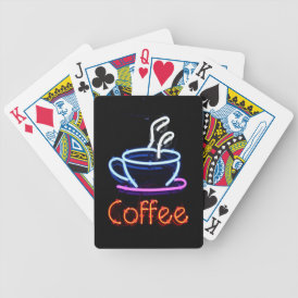 Neon Coffee Sign Bicycle Playing Cards
