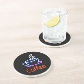 Neon Coffee Sign Coaster
