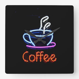 Neon Coffee Sign Square Wall Clock