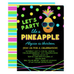 Neon Pineapple Birthday Party Invitation
