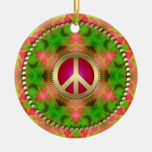 Neon Star Groovy Peace Sign Hanging Ornament
